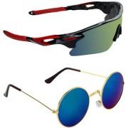 Zyaden Combo of 2 Sunglasses Sport and Round Sunglasses- COMBO 2763
