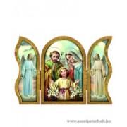Szent Család aranyozott szárnyas faplakett