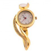 KMS Round White Meena Women's Golden Analog Watches