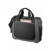 Servieta business cu buzunar frontal deschis Everestus DN 600D poliester negru gri saculet si eticheta bagaj incluse