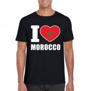 Shoppartners Zwart I love Marokko fan shirt heren