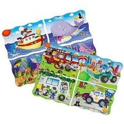 Sprogs - Giant Find & Match Floor Puzzles Ocean Friends (48 Pieces 30 X 20 ) & Transportation Puzzle (48 Pieces 30 X