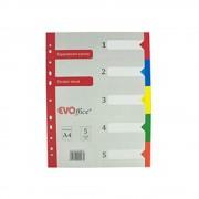 Separatoare din Carton EVOffice, Format A4, 5 Culori/Set, Index din Carton, Separatoare Bibliorafturi - Despartitoare din Carton