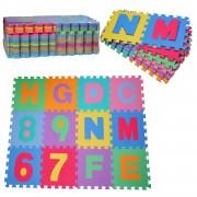 HOMCOM Alfombra Puzzle con Letras y Números para Niños - 36 piezas varios Colores - Goma espuma EVA