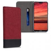 kwmobile Funda Compatible con Huawei P20 Lite-Carcasa de Tela y Cuero sintético con Soporte en Rojo Oscuro/Negro