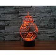 Star Wars 3D Night Action Figure Toy Lamp R2D2 BB8 Droid Millennium Falcon Death Star Scale Model Kit Bedroom Light Decoration