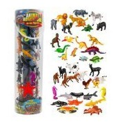 SCS Direct Giant Animal Action Figure Set - Big Bucket Of Ocean, Dinosaur, Safari, And Farm Animals - 40 Figure