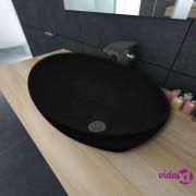 vidaXL Luksuzni Keramički Ovalni Umivaonik Crni 40 x 33 cm