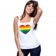 Shoppartners Gay pride mouwloos shirt Regenboog vlag in hart wit dames