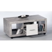 Petra 1 Drawer Coffee Table in Grey with White Gloss