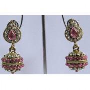 Pink Tilak stone gota earring smc001