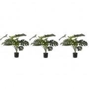 Bellatio flowers & plants 3x Groene Monstera kunstplanten 85 cm voor binnen