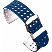Curea silicon cu doua fete compatibila cu Withings Activite POP 18mm Albastru/Alb