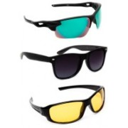 TheWhoop Sports, Wayfarer Sunglasses(Green, Black, Yellow)
