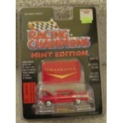 1957 Red Chevy Chevrolet Bel Air Racing Champions Mint Condition Die Cast Emblem & Vehicle With Display Stand