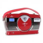 Auna RCD-70 Radio retro FM USB CD pilas rojo