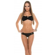 Cosmoda Collection Sexy halter bikini met strik en strass steentjes zwart