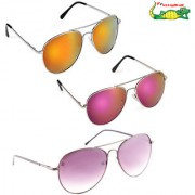 Elligator Unisex Combo Of Reflected Sunglasses With Spartiate Sunglass (Pack Of 3)