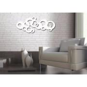 Escultura De Parede Abstrato Pintado 100 X 50 cm Em MDF Laminado Branco