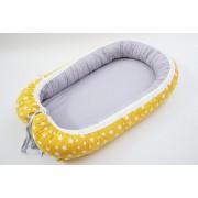 Baby Nest 0-6 luni Gri uni si galben cu stele