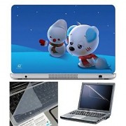 FineArts Laptop Skin Puppy on Blue Ice With Screen Guard and Key Protector - Size 15.6 inch