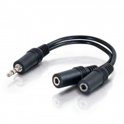 C2G Value Series 3.5mm Stereo Plug to 3.5mm Stereo Jack x2 Y-Cable 0.15m 3.5mm 3.5mm Black audio cable