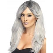 Deguisetoi Perruque longue avec frange dégradée grise femme