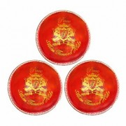 KK Sports Cricket Leather Balls in Alum Tanned Hide - Pace Quality Red color Pack of 3 Hand Stiched 50-overs Life