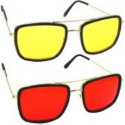Phenomenal Rectangular Sunglasses(Yellow, Red)