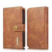 DG.MING Split Leather Stand Wallet Style Phone Case for iPhone 11 Pro 5.8 inch - Brown