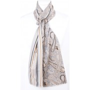 Grijs/beige herensjaal met paisleymotief