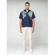Ben Sherman Main Line Short Sleeve Foliage Print Summer Shirt Sml Blue Depths