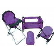 Mommy & Me 3 in 1 Doll Play Set PURPLE , 1 Doll Pack N Play. 2 Doll Bouncer 3.Doll High Chair. Fits