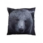 Borg Design Soffkudde med björn - Läderlook - 30 x 30 cm
