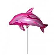 """Fólia lufi, mini forma, delfin, pink, 14"""""""