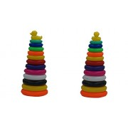 Plastic Duck Stacking Ring Super Stack Up Educational Toy Multi-colour 12 Rings for Toddlers