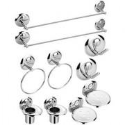 2-Set Of 5 Pieces Stainless Steel Bathroom Accessories Set-(2-Soap Dish 2-Tumbler Holder 2-Towel Rod -24 2-Napkin Ring 2-Robe Hook)-Creta Series