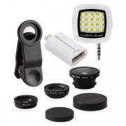 Edee Combo SET of Universal Mobile Camera Lens Kit LED Selfie Flash Light and OTG Smart Kit