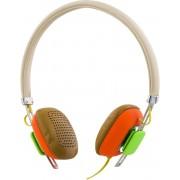 STREETZ HL-263 Hoofdtelefoon met microfoon, antwoordknop, geluidloos, 1,3 m kabel, wit / oranje