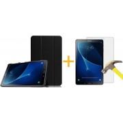 Samsung Galaxy Tab S3 9.7 - Luxe Zwart Leer Hoesje Smart Cover + Screenprotector / Screen protector - Book Case Retro (Flip Cover) (Zwarte Leren)
