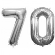 De-Ultimate Solid Silver Color 2 Digit Number (70) 3d Foil Balloon for Birthday Celebration Anniversary Parties