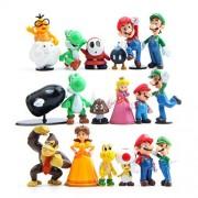 "si ying 18 Pcs (1 Set ) Super Mario Bros Super Mary Princess, Turtle, Mushroom, Orangutan , Super Mary Action Figures, 1. 2 ""- 2"""