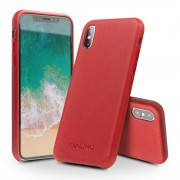 QIALINO Genuine Leather Protection Cell Phone Cover for iPhone X/ XS 5.8 inch - Red
