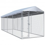 vidaXL Дворна клетка за кучета с покрив, 7,6x1,9x2,4 м