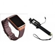 Zemini DZ09 Smart Watch and Selfie Stick for SAMSUNG GALAXY CORE ADVANCE(DZ09 Smart Watch With 4G Sim Card Memory Card| Selfie Stick)