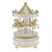 Segolike Merry Go Round Music Box w/ Steepletop Christmas Kid Birthday Present Carousel Musical Box Toy - white and golden