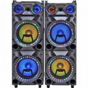 Караоке система ZEPHYR ZP 9999 2H12-2, 2х12 инча, Bluetooth, USB, Жак за микрофон, AUX, 2 микрофона, Дистанционно, Черен, ZP 9999 2H12-2