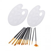 12 Pieces Paint Brushes Set Nylon Hair Painting Brush Variety Style Oil Acrylic Brush Watercolor Pen with 2 Paint Tray Palettes Art Supplies