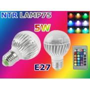 NTR LAMP75 5W 450lm színváltó RGB LED lámpa E27 foglalathoz + infra távirányító