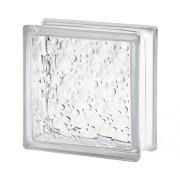 Cărămidă din sticlă picături de ploaie albă 19x19x8 cm